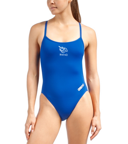 Blue Team Suit - Arena Women's Mast MaxLife Thin Strap Open Racer Back One Piece Swimsuit