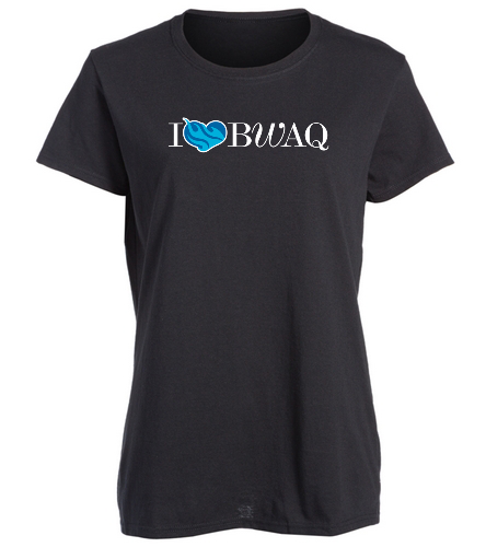 I Heart BWAQ black womens tee - SwimOutlet Women's Cotton Missy Fit T-Shirt