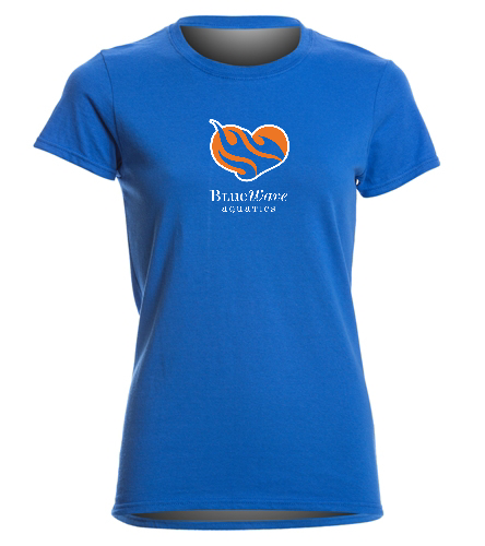 Blue BWAQ Heart tee - SwimOutlet Women's Cotton Missy Fit T-Shirt