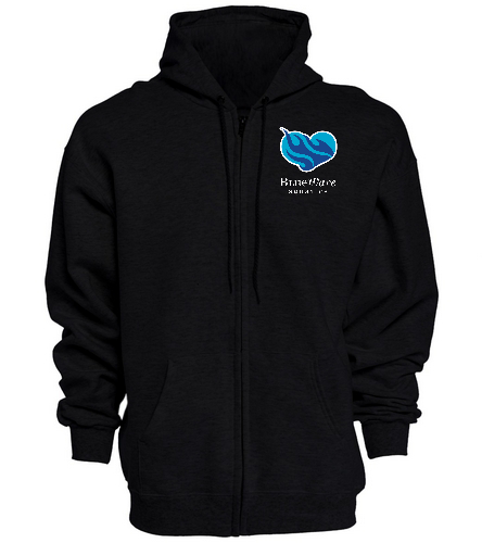 BWAQ Heart Zip Hoody Black - SwimOutlet Unisex Adult Full Zip Hoodie