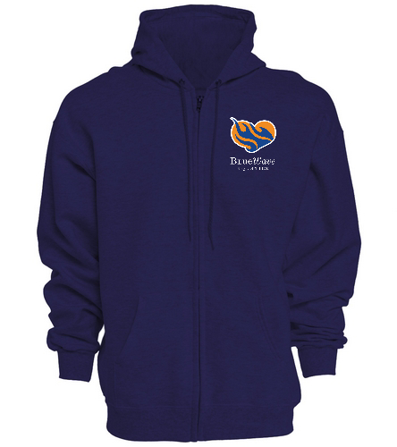 BWAQ Zip Hoody navy - SwimOutlet Unisex Adult Full Zip Hoodie