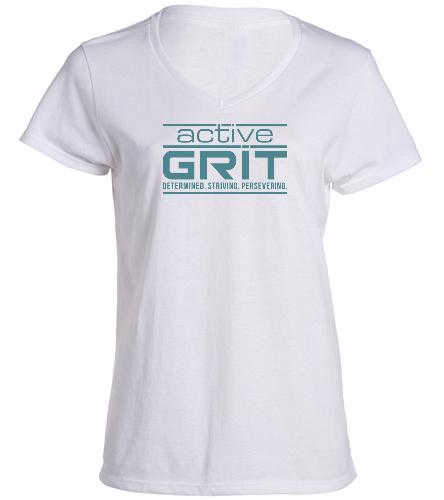 ActiveGRIT white -  Ladies V-Neck