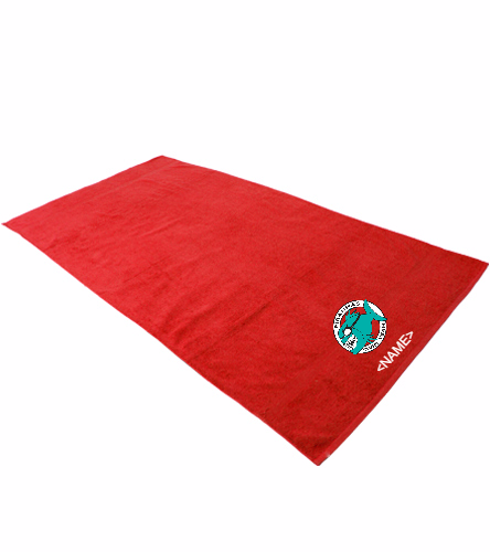 Personalized Towel Red - Royal Comfort Terry Cotton Beach Towel 32 x 64