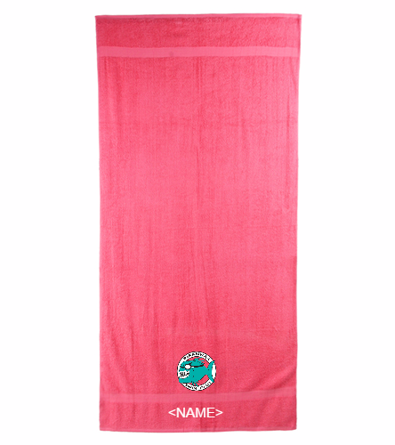 Pink Team Towel with Personalization - Royal Comfort Terry Cotton Beach Towel 32 x 64