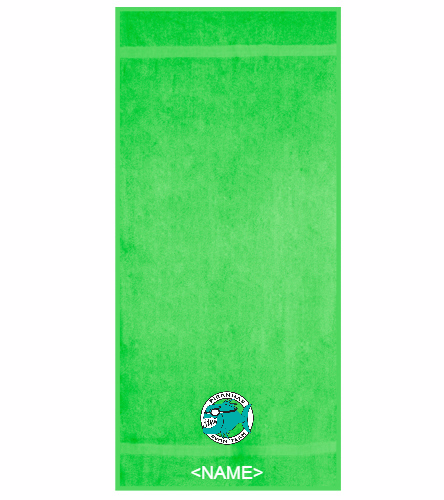 Team Towel Neon Green with Personalization  - Royal Comfort Terry Cotton Beach Towel 32 x 64