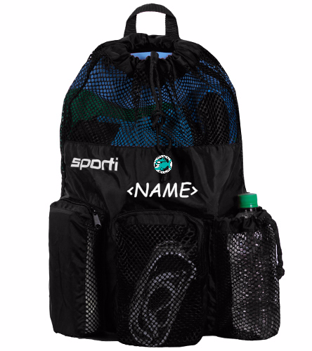 Personalized Mesh Equipment Bag Black Lg text - Sporti Equipment Mesh Bag