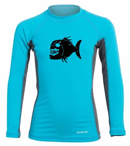 Piranhas Youth Rash Guard - Sporti Youth Unisex L/S UPF 50+ Sport Fit Rash Guard