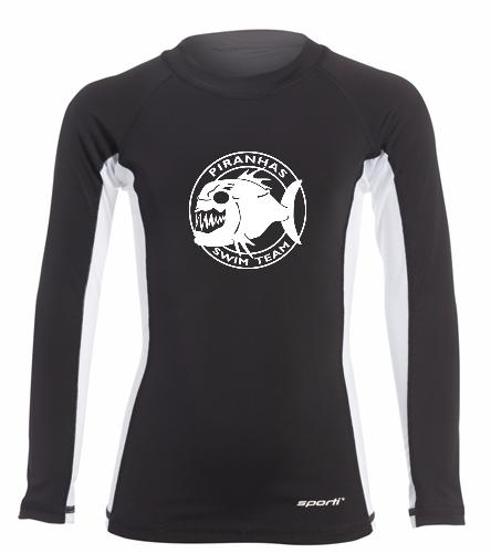 Piranhas Youth Rash Guard Black - Sporti Youth Unisex L/S UPF 50+ Sport Fit Rash Guard