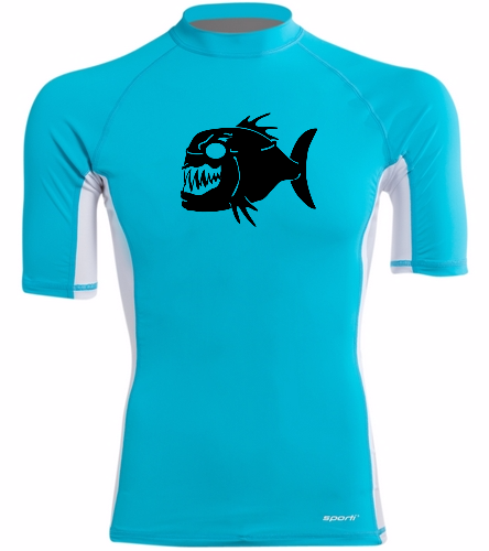 Piranhas Mens Rash Guard - Sporti Men's S/S UPF 50+ Sport Fit Rash Guard