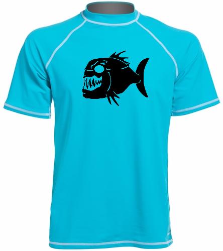 Piranhas Mens Swim Shirt - Sporti Men's S/S UPF 50+ Swim Shirt