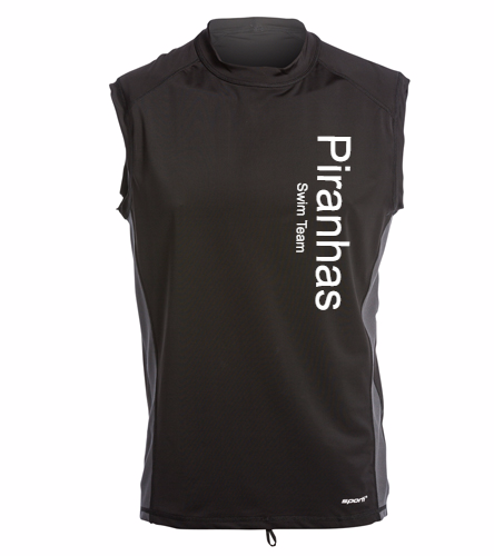 Piranhas Swim Team Muscle Shirt Black - Sporti Men's Sleeveless UPF 50+ Rash Guard
