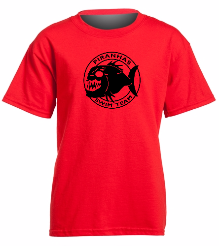 Piranhas Red T-Shirt (Youth) - SwimOutlet Youth Cotton Crew Neck T-Shirt