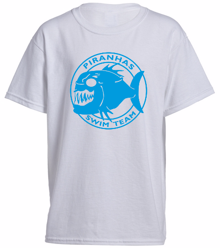 Piranhas Youth T-Shirt White - SwimOutlet Youth Cotton Crew Neck T-Shirt