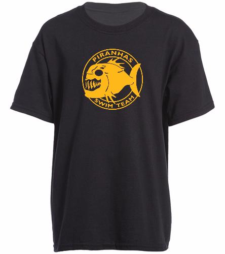 Piranhas Youth T-shirt Black - SwimOutlet Youth Cotton Crew Neck T-Shirt