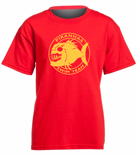 Piranhas Youth T-Shirt Red/Yellow - SwimOutlet Youth Cotton Crew Neck T-Shirt