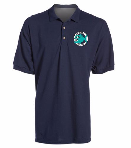 Piranhas Navy Sport Shirt - SwimOutlet Ultra Cotton Adult Men's Pique Sport Shirt