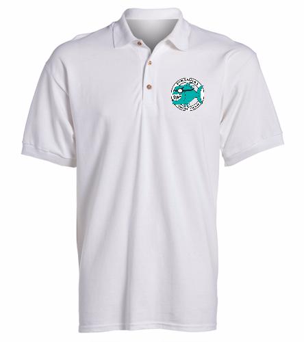 Piranhas White Sport Shirt - SwimOutlet Ultra Cotton Adult Men's Pique Sport Shirt