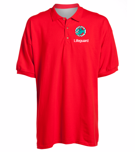 Lifeguard Polo Shirt Red Men's -  Ultra Cotton Adult Pique Sport Shirt