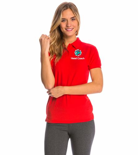 Head Coach Polo Red Women's - SwimOutlet Women's Pique Polo