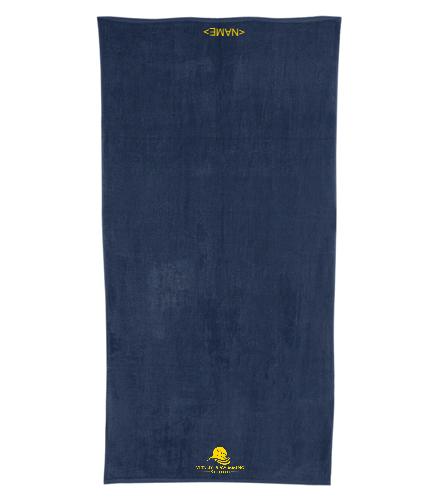 Navy Team Towel  - Royal Comfort Terry Velour Beach Towel 32 X 64
