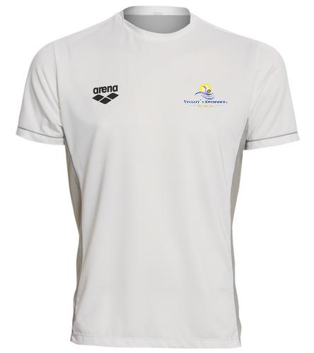 White VSS T Shirt - Arena Men's Team Line Crew Neck Short Sleeve Tech T Shirt