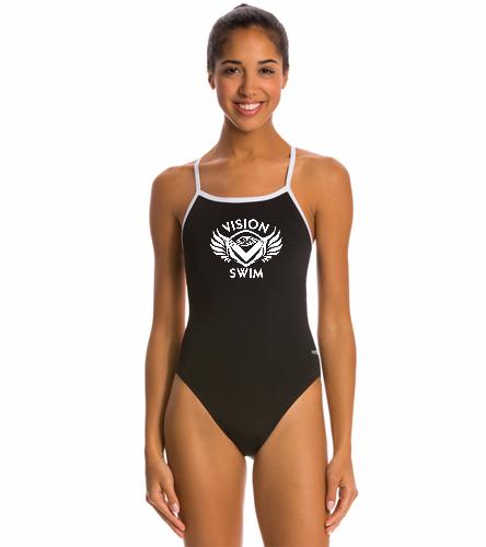 Girls dolfin1 - Dolfin All Poly Female Varsity Solid String Back One Piece Swimsuit