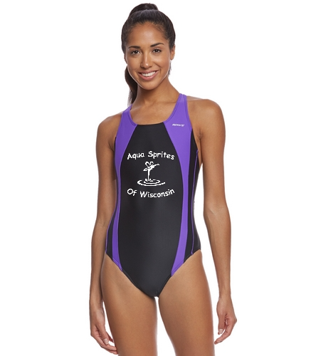 asw team suit 3 - Sporti Piped Splice Wide Strap One Piece Swimsuit