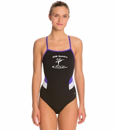 Aqua Sprites Synchronized - Sporti Poly Pro Splice Thin Strap One Piece Swimsuit