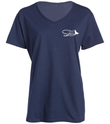 Aqua Sprites Synchronized Swim Club Inc - SwimOutlet Women's Cotton V-Neck T-Shirt