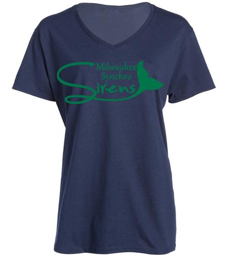 NAVY W/GREEN SHIRT MLS - SwimOutlet Women's Cotton V-Neck T-Shirt