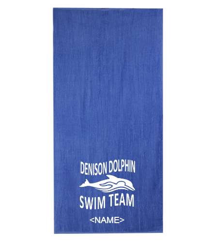 Dolphin Team Towel with Swimmer Name - Diplomat Terry Velour Beach Towel 30 x 60