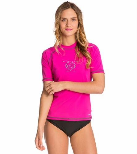 NLSC Pink - Sporti Women's S/S Swim Shirt - Sporti Women's S/S UPF 50+ Swim Shirt