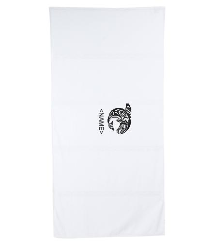 KKW Towel - White/Black  - Royal Comfort Terry Velour Beach Towel 32 X 64