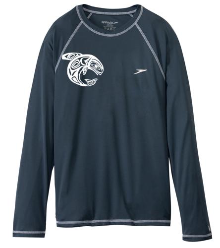 KKW Speedo L/S Swim Shirt - Gray - Speedo Men's Easy Long Sleeve Swim Shirt