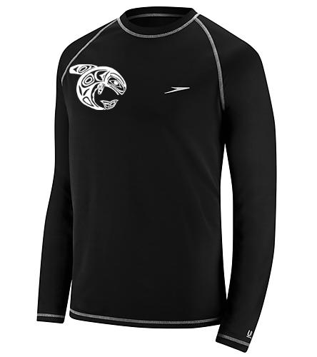 KKW Speedo L/S Swim Shirt - Black - Speedo Men's Easy Long Sleeve Swim Shirt
