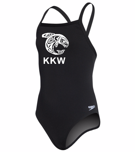Ketchikan Killer Whales - Speedo Girls' Solid Endurance + Flyback Training Swimsuit