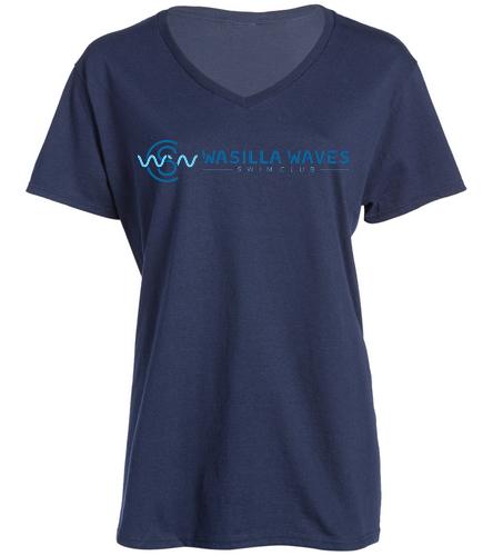 Navy V Neck  - SwimOutlet Women's Cotton V-Neck T-Shirt