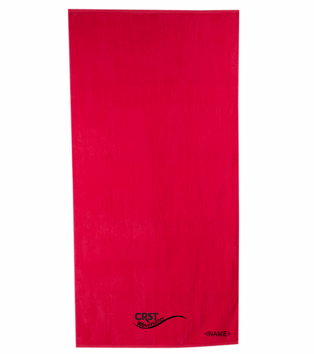 CRST Red - Royal Comfort Terry Velour Beach Towel 32 X 64