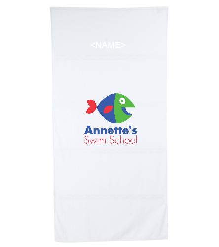 Annette's Swim School White 1 - Royal Comfort Terry Velour Beach Towel 32 X 64