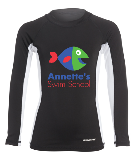 Annette's Swim School Black - Sporti Youth Unisex L/S UPF 50+ Sport Fit Rash Guard