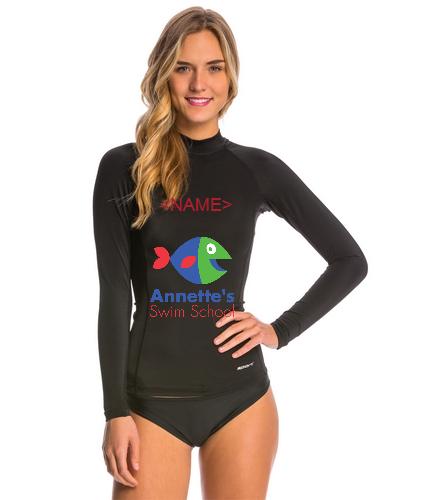 Annette's Swim School with name - Sporti Women's Solid L/S UPF 50+ Sport Fit Rash Guard