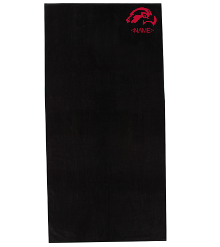 Osprey in Red on Black Towel - Royal Comfort Terry Velour Beach Towel 34X 70