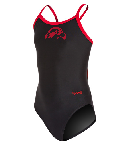 Osprey Logo in Red Youth Swimsuit - Sporti Solid Piped Thin Strap One Piece Swimsuit Youth (22-28)