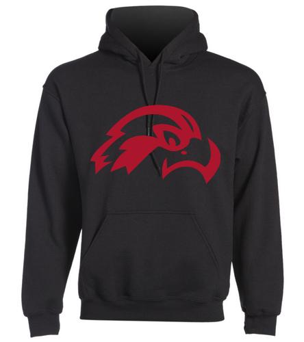 Osprey Logo in Red on Black Hooded Sweatshirt - SwimOutlet Heavy Blend Unisex Adult Hooded Sweatshirt