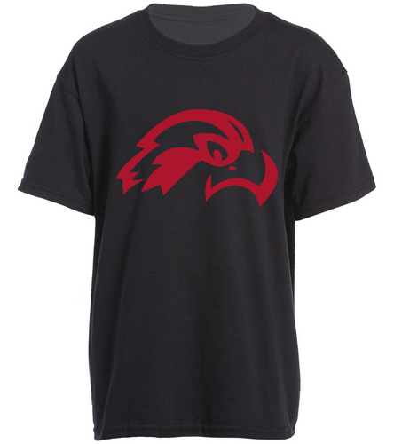 Osprey Logo in Red Front Side Youth Black T-shirt  - SwimOutlet Youth Cotton Crew Neck T-Shirt
