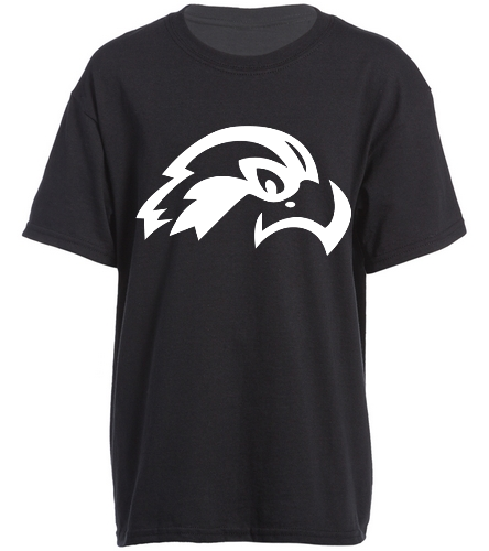 Osprey Logo White Front Side Black Youth T-Shirt - SwimOutlet Youth Cotton Crew Neck T-Shirt