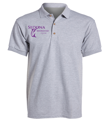 Men's coaches grey polo - Heat Press logo - SwimOutlet Ultra Cotton Adult Men's Pique Sport Shirt