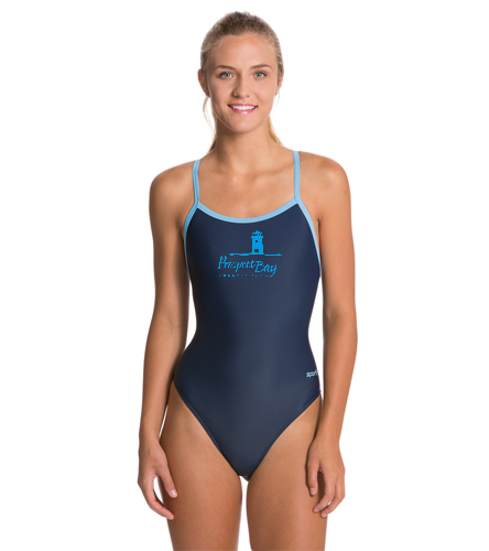 Suit w/ PBCC Logo - Sporti Solid Piped Thin Strap One Piece Swimsuit