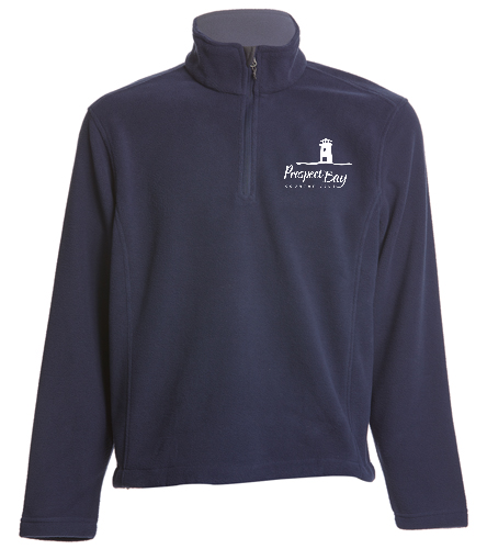 PB Fleece Navy Left Logo - SwimOutlet Adult Unisex Fleece 1/4-Zip Pullover