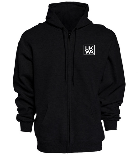 Blk Front and Back - SwimOutlet Unisex Adult Full Zip Hoodie